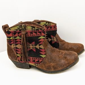 Big Buddha Aztec Print Ankle Booties